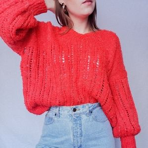 Hand knit cherry red sweater metallic vintage